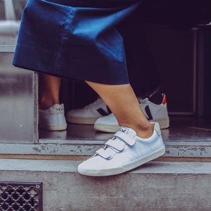 Veja 3-lock leather white sneakers Velcro shopbop